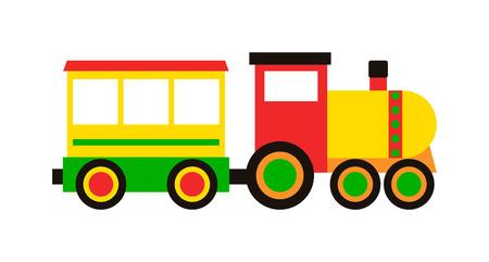흰색과 장난감 기차 벡터 집합 위에 절연 다채로운 블록 만화 장난감 기차. 장난감 기차 컬러 철도 및 만화 캐리지 게임 장난감 기차 재미 레저 기쁨 선