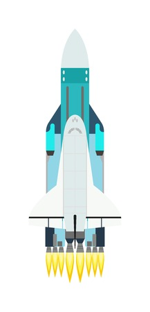 spacecraft: Vector rocket isolated on white and technology ship rocket cartoon design. Science future travel rocket and shuttle fly rocket. Speed galaxy fantasy rocket and futuristic spacecraft, astronaut rocket Illustration