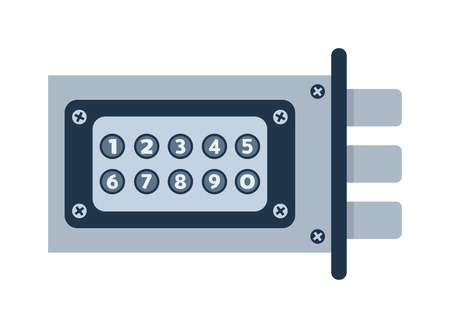 door lock: Modern door lock, contemporary satin handle door lock and keyhole detail door lock vector icon. Door lock house safety and protection entrance access open handle keyhole. Interior steel secure design. Illustration