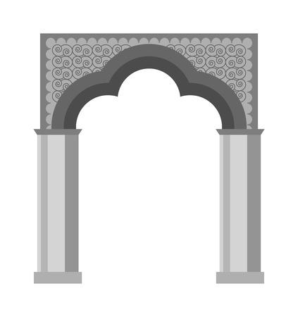 Arco del icono del vector aislado y la arquitectura antigua marco de arco. Columna de diseño arco de acceso y la construcción clásica del arco. Historia de la cultura antigüedad arco fachada exterior del montante
