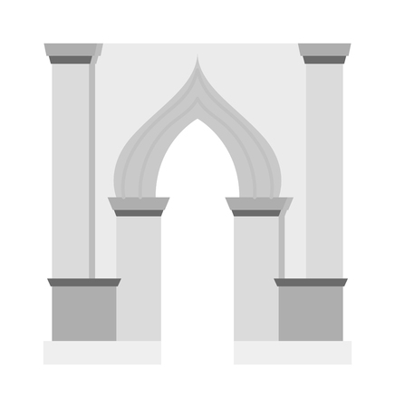 frontage: Arch vector icon isolated and architecture ancient frame arch. Column entrance design arch and arch classical construction. History antique culture pillar exterior facade arch