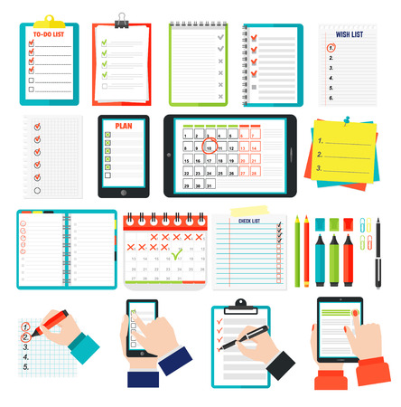 Agenda list concept vector illustration. Business concept with paper agenda, pen, phone, clipboard in flat style. Agenda wall calendar, self-adhesive notes, color marker, clips, hand article agenda.