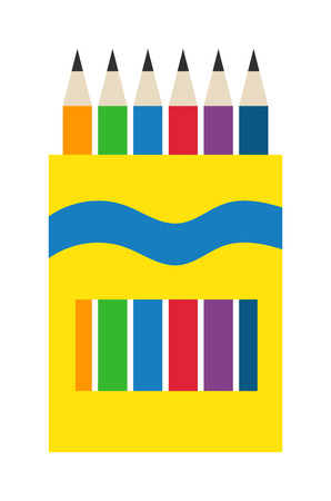 ball pens stationery: Vector color pencils illustration office supply design. Colored plastic pencils and ballpoint silver pencil set. Color pencils set education equipment and penils design ink school.