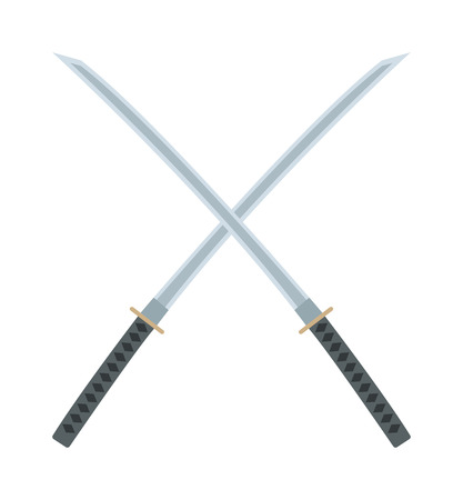 Crossed sword traditional weapon and crossed metallic swords knife. Japanese crossed swords icon cartoon vector illustration on white background. Asia swords crossed