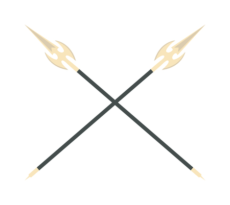tsuka: Crossed sword traditional weapon and crossed metallic swords knife. Japanese crossed swords icon cartoon vector illustration on white background. Asia swords crossed