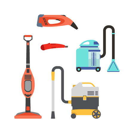 squeegee: Professional cleaning equipment isolated on white background. Vector cleaning equipment tool and service cleaning equipment housework tools. House product chemical washing equipment. Illustration