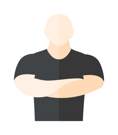 muscular control: Male security guard standing over white background. Security man protection guard safety male. Vector security man protect uniform adult danger surveillance service character.