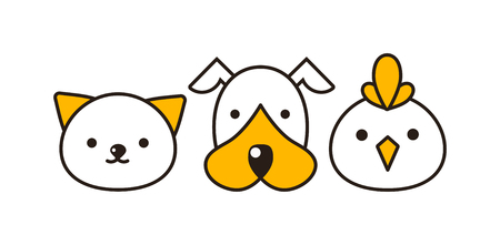 feline: Cat, dog and bird vector illustration. Animal had set, domestic cat, dog and farm bird feline portraits. Cute little mammals characters different group domestic cat, dog and little bird animal. Illustration