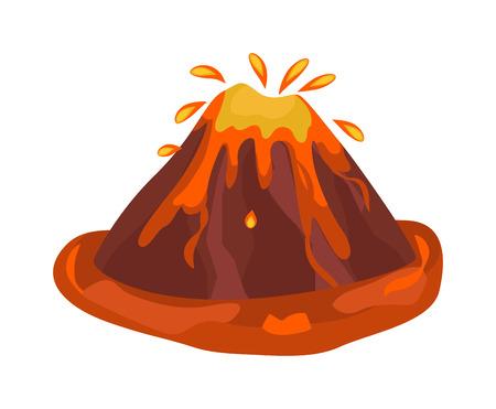 mountain ash: Volcano eruption stromboli with spectacular eruptions. Eruption crater mountain volcano hot natural eruption nature. Volcano erupt ash fire hill landscape outdoor geology eruption exploding ash. Illustration