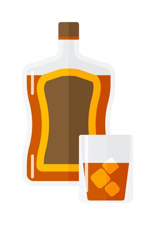 Whiskey bottle ice shot drink. Vector whiskey bottle and short glass brown drink. Brown whiskey bottle beverage liquor bar cognac amber, drunk ireland flavor. Taste screw scottish cocktail. Ilustrace