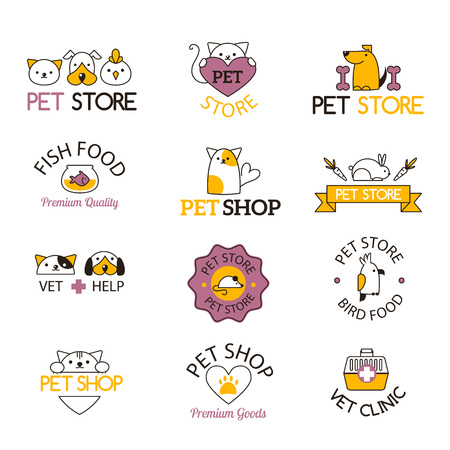 pet shop: Logo for pet shop or animal clinic pet shop logo. Pet shop logo design veterinary, cat symbol isolated silhouette care puppy label. Pet shop logo creative animal company emblem set.