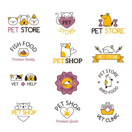 Logo pour animalerie ou clinique pour animaux pet shop logo. Animalerie logo vétérinaire, symbole de chat isolé label chiot de soins de silhouette. Animalerie logo société animale créative emblème défini.