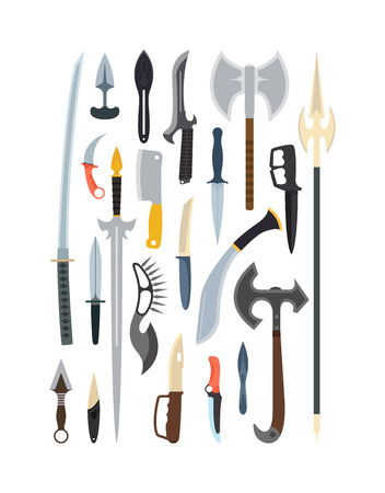 cold steel: Knifes weapon collection. Vector illustration of swords, knifes, axe, spear. Edged weapons vector weapon set. Combat knifes andbonder knives, bayonet knife, swat knifes. Cold steel arms. Illustration