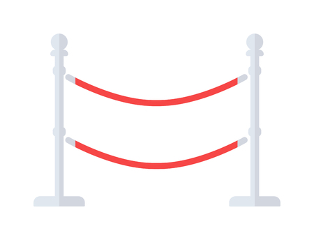 velvet rope barrier: Red carpet gold vip award barrer constructor vector illustration. Flash glamor barrer award party vip award barrer. Success exclusive cinema luxury vip award barrer. Elegant entertainment symbol.