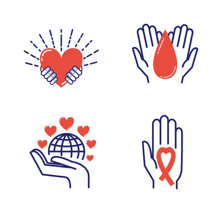 philanthropist: Volunteer icons donate charity donation vector set. Humanitarian volunteer icons awareness hand hope aid support and assistance care service human volunteer symbols. Collection shape donate concepts Illustration