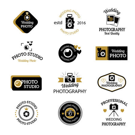 Set of photography and photo studio logo black colour. Vector photographer logo design elements, business signs, identity, labels, badges. Other branding objects for your business photographer logo.