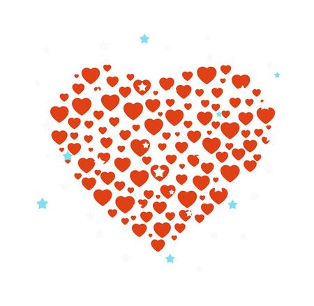 shiny hearts: Red hearts confetti are forming heart. Vector Hearts confetti celebration decoration space love art. Shape decoration hearts confetti romance symbol bright shiny. Wedding party element frame.
