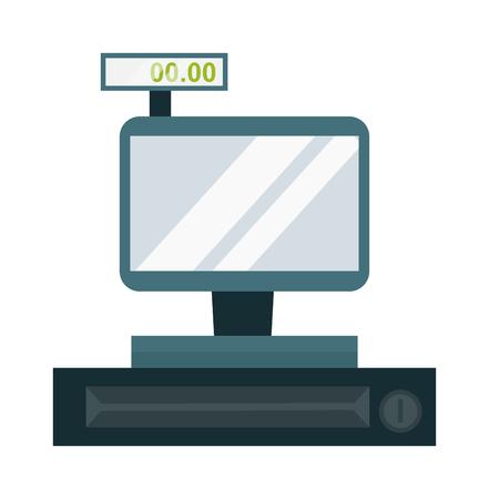 Ekran ekranu dotykowego rejestru kasowego. Kalkulator finansowy Banku sprzedaje sklep z kasą w supermarkecie. Przechowywać kasę sprzedającą pieniądze elektroniczna płatnicza maszyna licząca. Płatność zakupu zakupu.