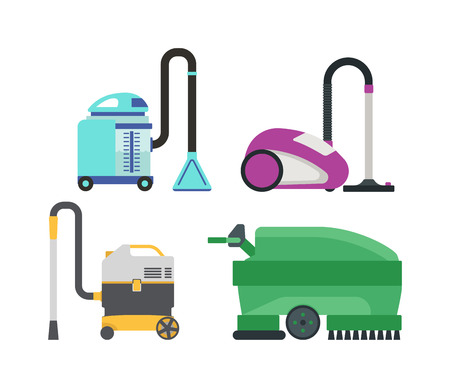 sweeper: Set of different vacuum cleaners vector illustration. Vacuum house appliance housework tool. Single tube sweeper modern work vacuum. Household equipment appliance domestic clean machine. Illustration