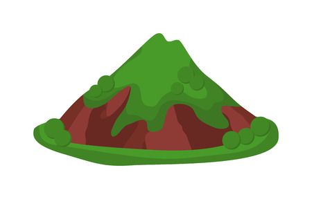 crater: Volcano icolated blowing up with lava flowing down vector illustration. crater mountain volcano isolated hot natural eruption nature. Volcano erupt ash fire hill landscape isolated.