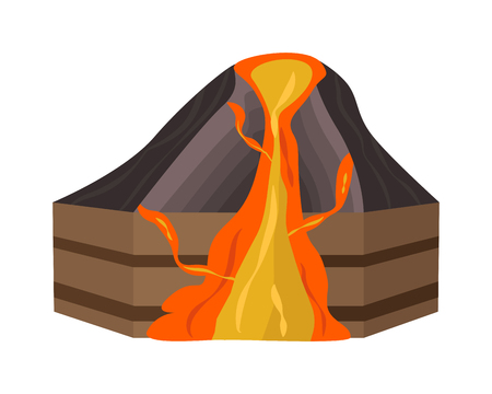 Volcano section structure digitally enhanced. Magma volcano section nature geography crust. Geology science crater explosion volcano section. Crater explosion mountain tectonic natural vector plate.