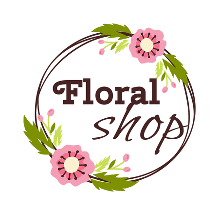 shop sign: Bright logo for flower shop. Hand drawn emblems and floral signs for flower shop. Flower shop labels. Doodles, sketch floral and gardening logos and signs trendy linear style emblems flower shop.