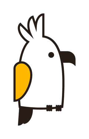 cartoon parrot: Clever speaking outline parrot sits on wooden pole, black outline silhouette on white background. Vector outline parrot bird sketch tattoo abstract macaw pet. Wild tropical cartoon parrot.