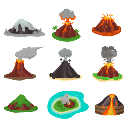 Volcano magma nature blowing up with lava flowing down vector set. Crater mountain volcano hot natural eruption nature. Volcano erupt ash fire hill landscape outdoor geology exploding ash.