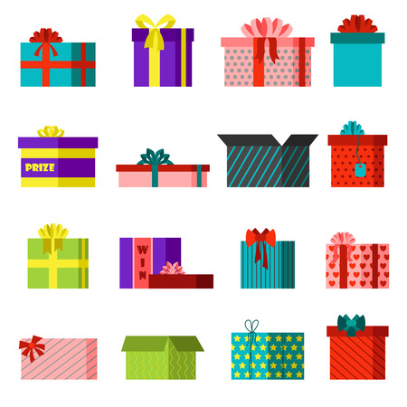 moving crate: Vector gift open box set cardboard empty container packaging. Gift open box carton transportation package paper, red ribbon bow. Gift open box celebration holiday collection warehouse receive.