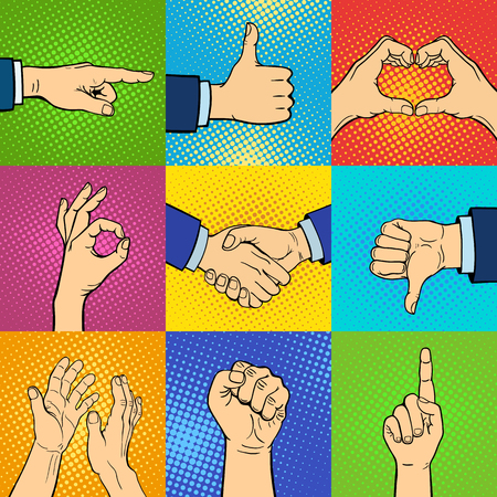 body part: Hand pop art collection vector illustration. Pop art background style comic arm set. Agree gesture positive thumb body part hands pop art background set. Man gesture pop art element.