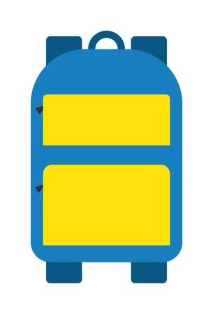 knapsack: Blue school bag vector icon. Fashion kid school bag education object. Student notebook supplies school bag, rucksack book baggage. Children pen sack knapsack. Study blue bag educational equipment.