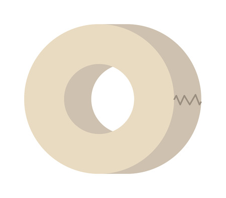scotch: Roll of white insulating tape isolated on a white background. Sticky insulating tape. Insulating tape roll. Insulating electric tape protection Illustration