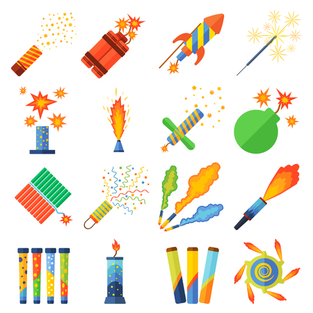 pyrotechnics: Set of pyrotechnic rockets. Vector illustration pyrotechnics and fireworks fountains, roman candles, beautiful rockets. City anniversary traditional evening pyrotechnics and fireworks sparkle design.