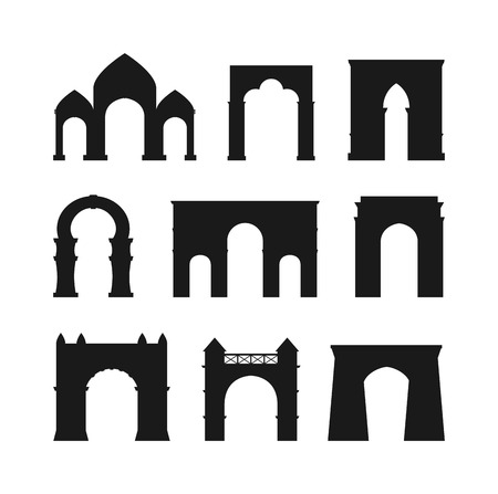 frontage: Arch vector set black silhouette and architecture ancient frame arch. Column entrance design arch and arch classical construction. History antique culture pillar exterior facade arch