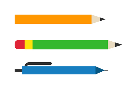 ballpoint: Vector color pencils and pen illustration office supply design. Colored plastic pencils and ballpoint silver pencil set. Color pencils set education equipment and penils design ink school.