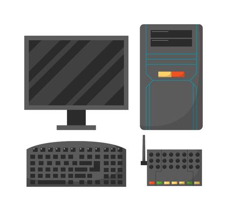 wireless communication: Modern desktop computer with wireless keyboard and desktop computer vector flat illustration. Desktop computer technology screen monitor and office wide wireless communication desktop computer. Illustration