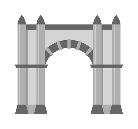 arch: Arch vector icon isolated and architecture ancient frame arch. Column entrance design arch and arch classical construction. History antique culture pillar exterior facade arch