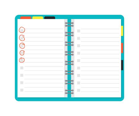 open notebook: Opened notebook planner and white page. Open notebook vector illustration. Opened notepad book blank page white empty paper and opened notepad business note diary sheet education pad document template