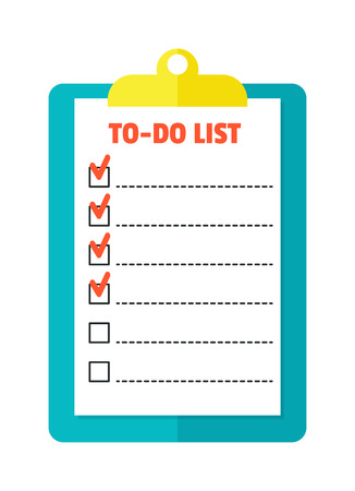 article: Agenda list icon vector illustration. Business concept with paper agenda document flat style. Agenda calendar, self-adhesive notes, color marker, article agenda.