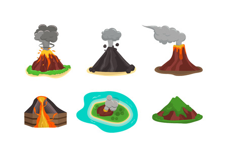 crater: Volcano magma nature blowing up with lava flowing down vector set. Crater mountain volcano hot natural eruption nature. Volcano erupt ash fire hill landscape outdoor geology exploding ash.