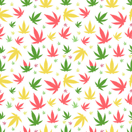 Green marijuana background vector illustration. White marijuana background leaf pattern repeat seamless repeats. Marijuana leaf background herb narcotic textile pattern. Different vector patterns.