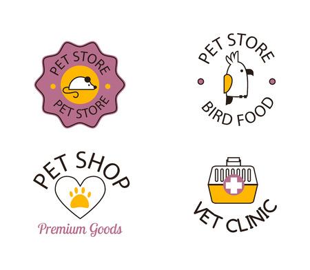 pet shop: for pet shop or animal clinic pet shop  . Pet shop   design veterinary, cat symbol isolated silhouette care puppy label. Pet shop   creative animal company emblem set. Illustration