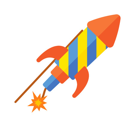 retro future: Childs toy rocket on white background. Future vehicle travel transport toy rocket futuristic metal missile symbol. Vector fly spacecraft star toy rocket retro science technology ship object.