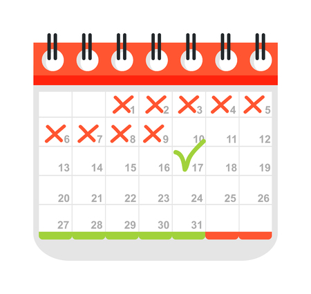 Calendar icon vector isolated, calendar icon graphic reminder element message symbol. Calendar icon message template shape office calendar icon appointment. Binder schedule calendar icon. Ilustração