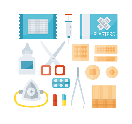 emergency case: First aid kit isolated on white background and first aid symbols vector. First aid symbols medical symbol emergency sign and kit cross first aid symbols. Assistance equipment case safety sign.