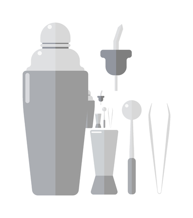 steel bar: Classic cocktail barman drinks shaker vector illustration. Barmen drinks shaker bar alcohol cocktail party beverage. Aluminum celebration shiny isolated steel equipment barmen drinks shaker.