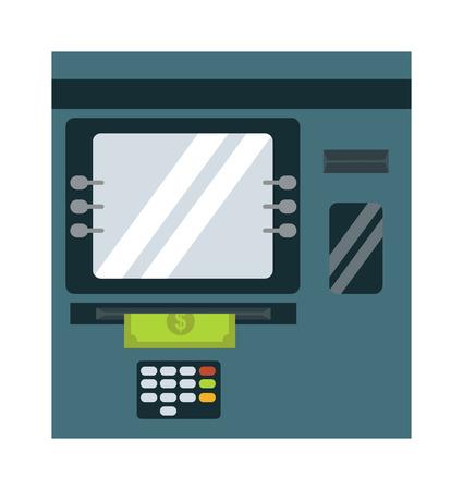 bankomat: ATM cash dispenser vector illustration isolated on white background. Wealth keypad money debt buy monitor atm cash dispenser. Business technology atm cash dispenser debit display. Illustration
