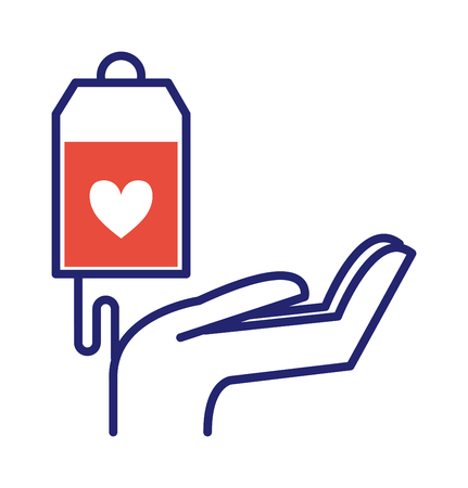donates: Donate hand healthcare, medicine and blood donation concept. Donate hand female donates money red heart with donor sign over white background. Vector donate health heart volunteer concept. Illustration