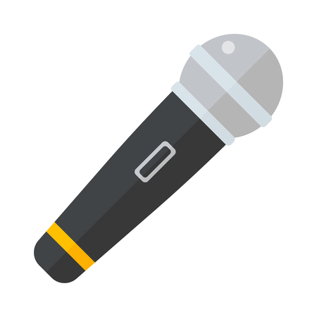 TV news or event microphone isolated on a white background flat vector illustration. Music or news microphone. Media TV news microphone. Illusztráció