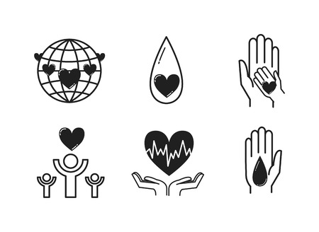 Donate hand healthcare, medicine and blood donation concept. Donate hand female donates money red heart with donor sign over white background. Vector donate health heart volunteer concept. Illustration